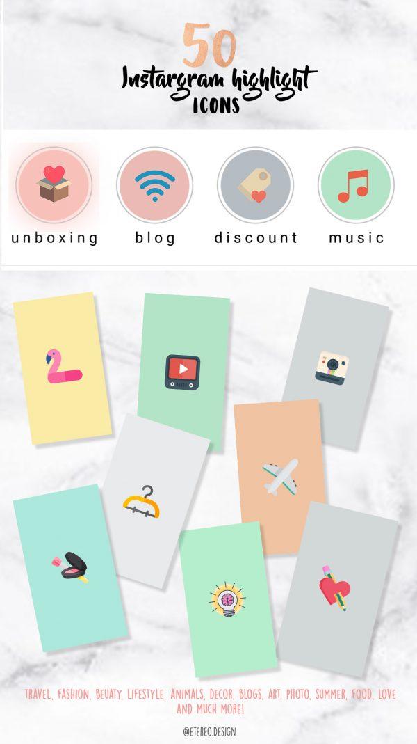 Iconos para Instagram color pastel