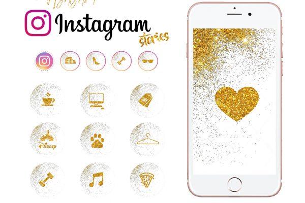 Iconos para Instagram dorados