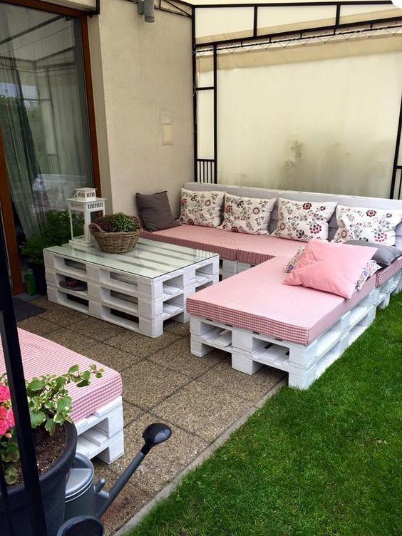 sillon terraza palets blanco