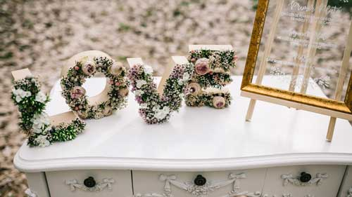 letras love flores DIY